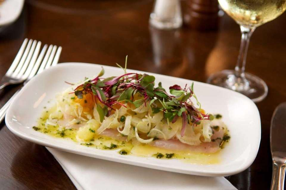 Local fluke crudo is served with a citrus