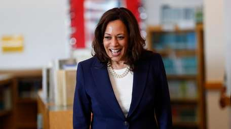 Democratic presidential candidate Sen. Kamala Harris, D-Calif., greets