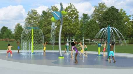 A rendering of the new Tobay Spray Park.