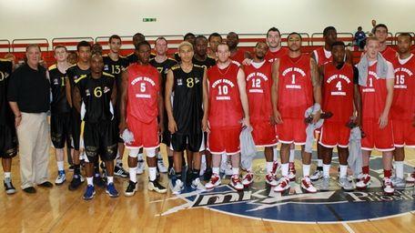 The Stony Brook and Milton Keynes basketball teams