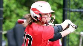 Long Island Lutheran's Madison DeMaio gets a hit