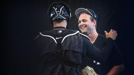 Yankees pitcher Chance Adams and catcher Gary Sanchez