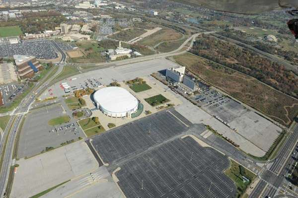 Aerial view of the Nassau Coliseum and surrounding