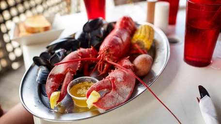 A steamed lobster platter is served at the