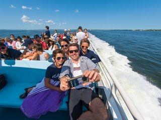 Aboard a Fire Island ferry to Ocean Beach,