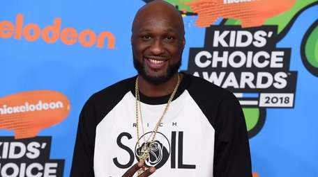 Lamar Odom arrives at the 2018 Kids' Choice
