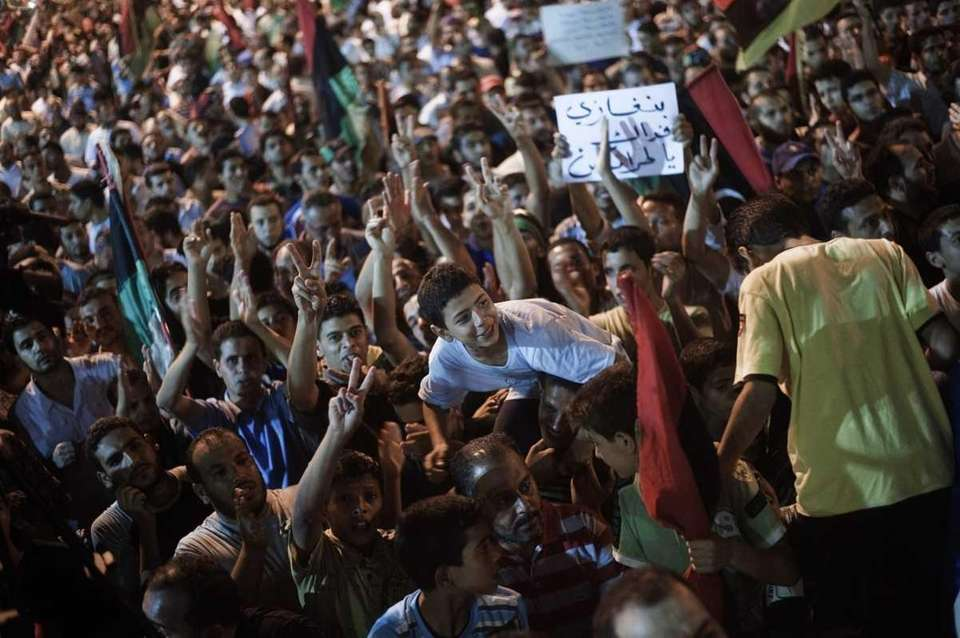 Tens of thousands of Libyans celebrate the arrest