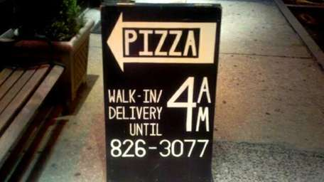This sidewalk sign is the only way to