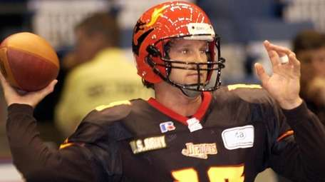 Danny Kanell warms up prior to the game