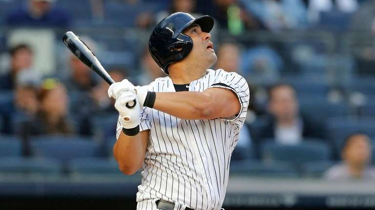 Kendrys Morales #36 of the Yankees flies out