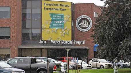 The exterior of John T. Mather Hospital in