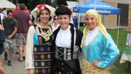 From left, Greek dancers Aspasia Hotzoglou, Despina Hotzoglou