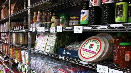 Shelves at the Love Lane Market in Mattituck.