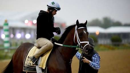 Preakness Stakes entrant Bourbon War is led off