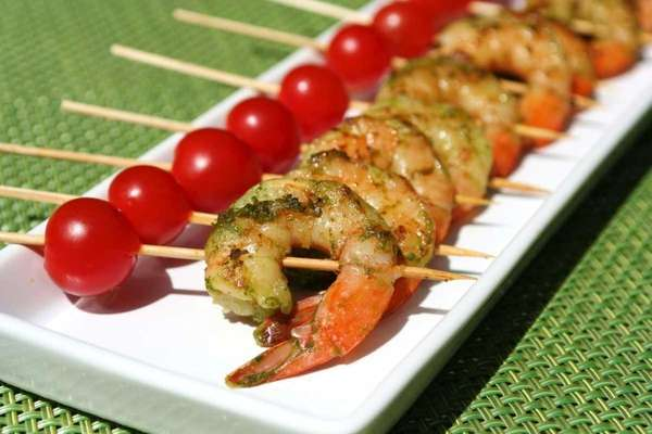 Green shrimp skewers, one of Three Simple summer
