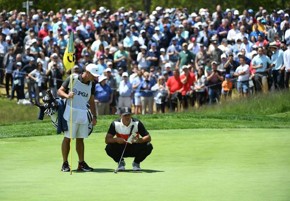 Brooks Koepka looks on from the 5th green
