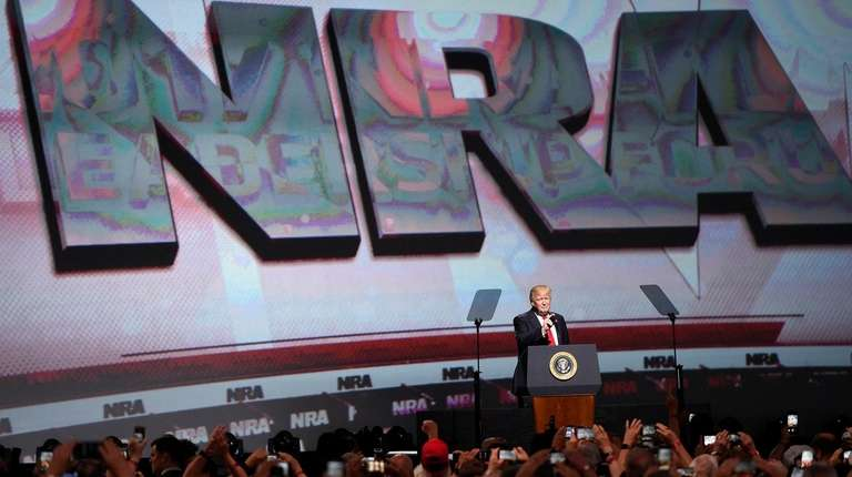 President Donald Trump speaks at the National Rifle