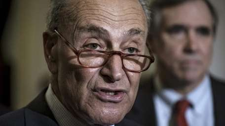 Senate Minority Leader Chuck Schumer speaks to the