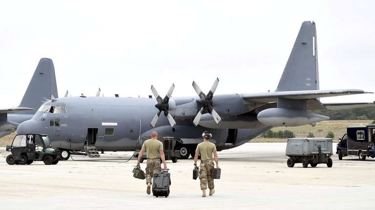 Members of the 106th Rescue Wing in front