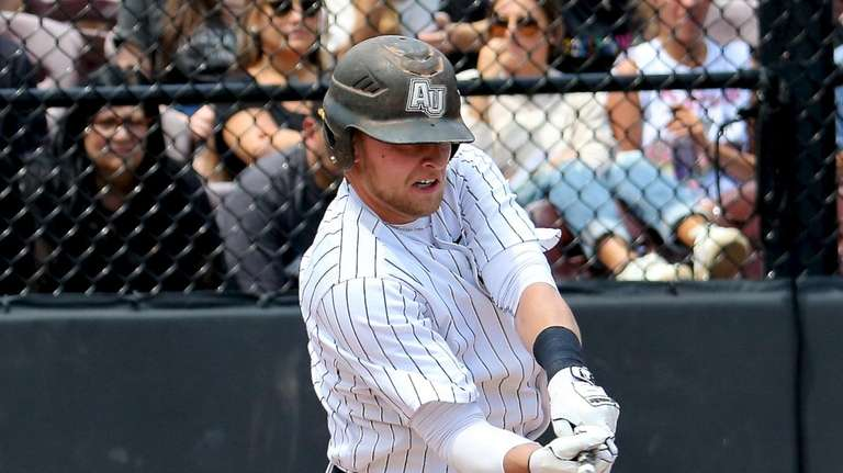 Adelphi's Lucas Terwilliger lines a single to the