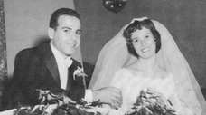 Jack and Barbara Solomon on their wedding day