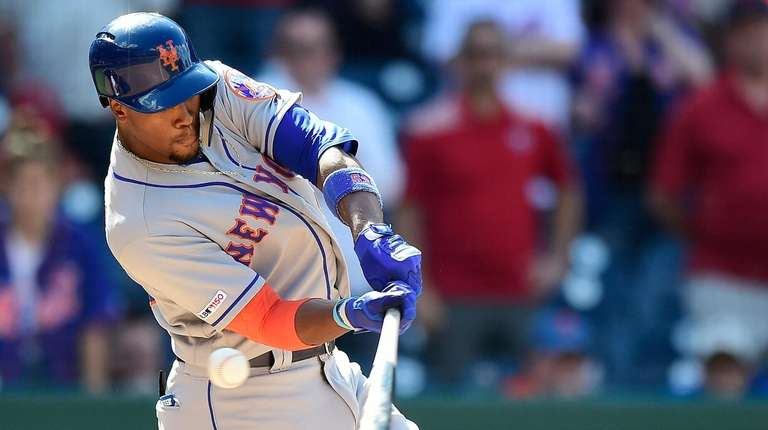 Keon Broxton of the Mets strikes out swinging