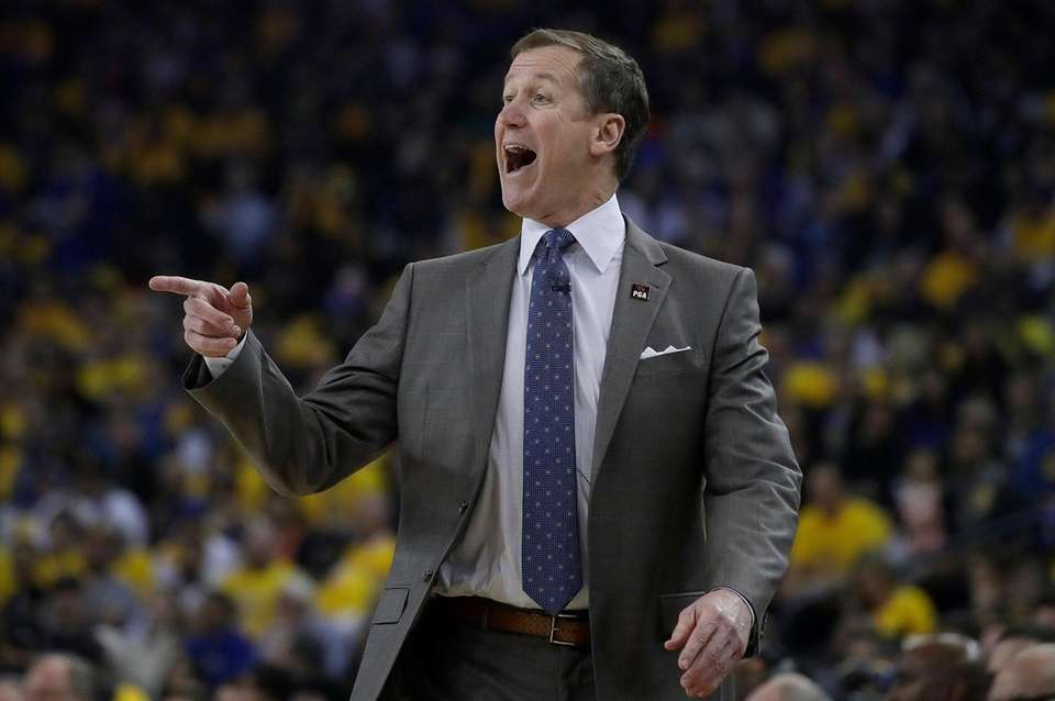 Portland Trail Blazers coach Terry Stotts gestures during