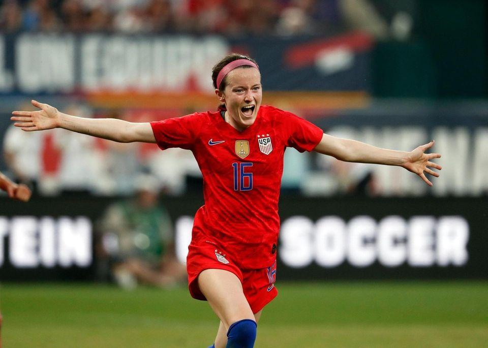 United States midfielder Rose Lavelle celebrates after scoring