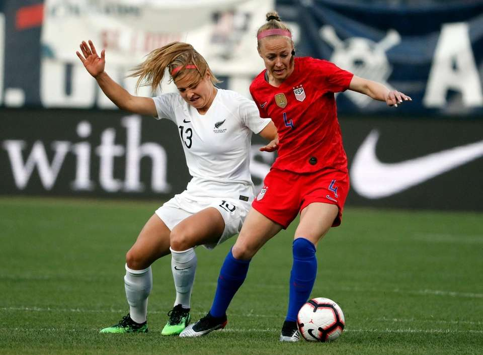 New Zealand's Rosie White (13) and United States'