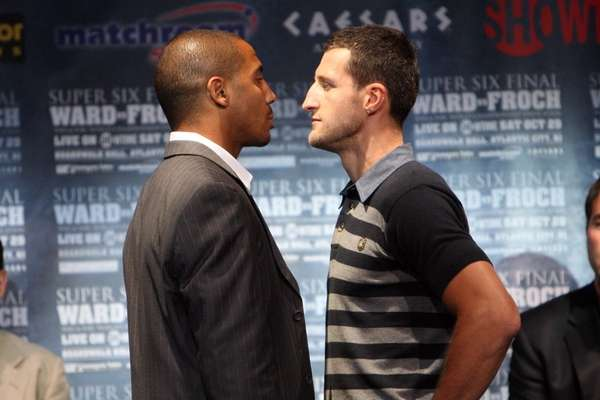 Andre Ward (L) and Carl Froch face-off at