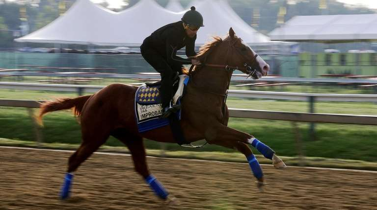 Improbable runs during training for Saturday's Preakness horse