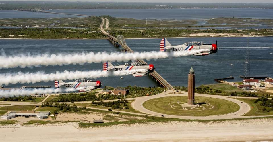 Geico's Skytypers fly over the south shore of