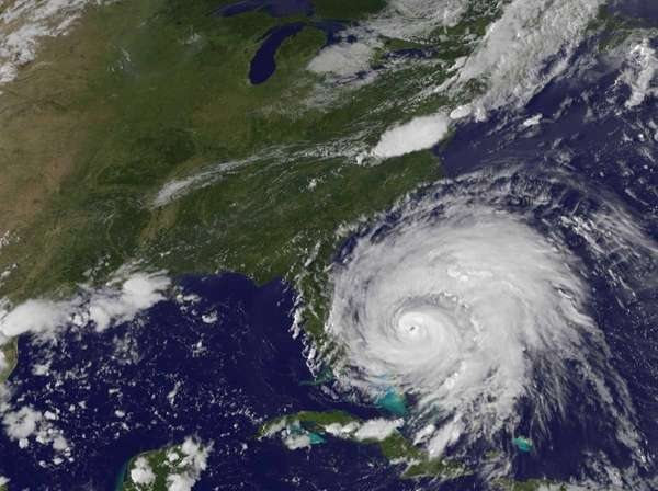 Hurricane Irene moves due east of the coast