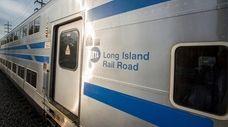 A westbound bi-level Long Island Rail Road commuter