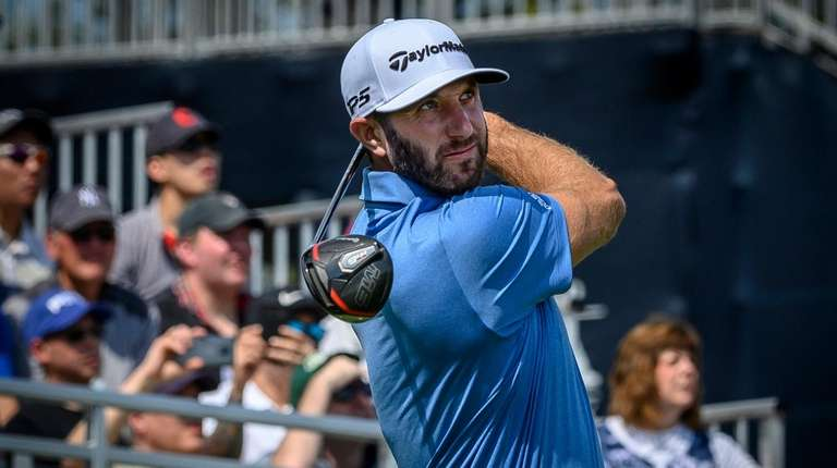Dustin Johnson tees off at No. 1 on
