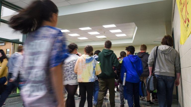 Students at William Paca Middle School in Mastic