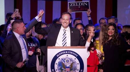 Rep. Lee Zeldin (R-Shirley) celebrates his re-election victory