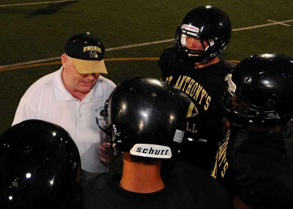St. Anthony's High School secondary coach Mark Maier