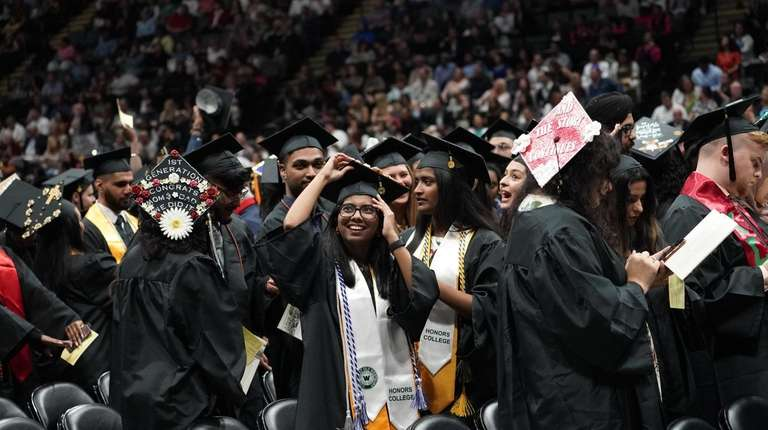 Joyful graduates at SUNY Old Westbury's commencement Saturday.