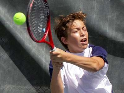 Stephan Gershfeld, Hewlett, plays doubles against Mikey Weitz