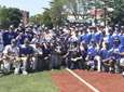 The NYIT baseball team celebrates after defeating Wilmington