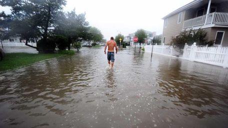 Waters from Hurricane Irene flood a Long Beach