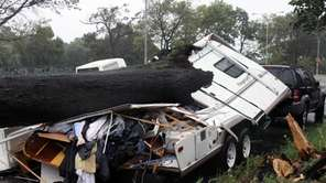 A camper is crushed by a fallen tree