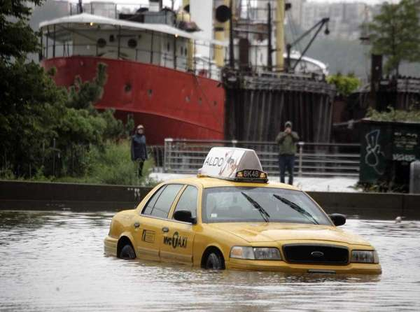 A New York City taxi is stranded in