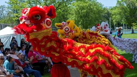 Dragon dancing at the festival in Port Washington