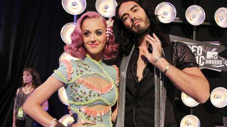 Katy Perry and actor Russell Brand arrive at