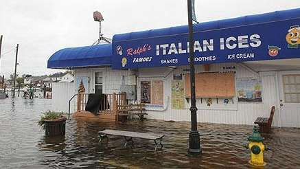 Water flooded the Nautical Mile in Freeport on