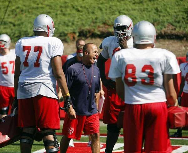 Stony Brook head coach Chuck Priore shouts instructions