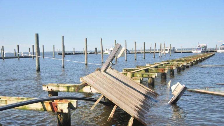 Boat docks at Davis Park on Fire Island