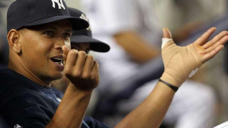 Alex Rodriguez of the New York Yankees watches